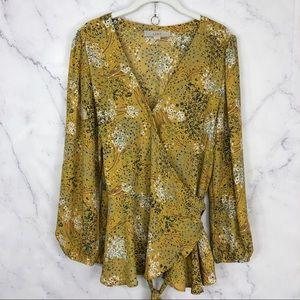 Loft spring blossom wrap top blouse mustard Sz L